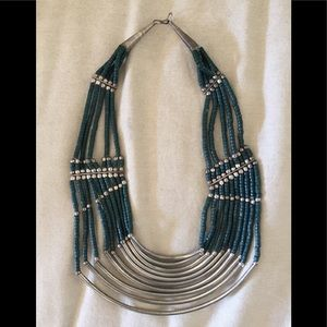 Sterling Silver Seed Bead Bib Necklace Tribal/Boho